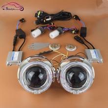 3.0 дюймов Pro Волоконной Оптики СВЕТОДИОДНЫЕ Angel Eyes Halo Дьявол Глаза Bi xenon HID Объектив Проектора Комплект 4300 К 5000 К 6000 К