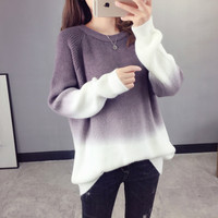 H.SA Women Winter Fashion Sweater and Jumpers Long Sleeve Oneck Gradient Pacthwork Pull Jumpers Purple Christmas Sweater Tops
