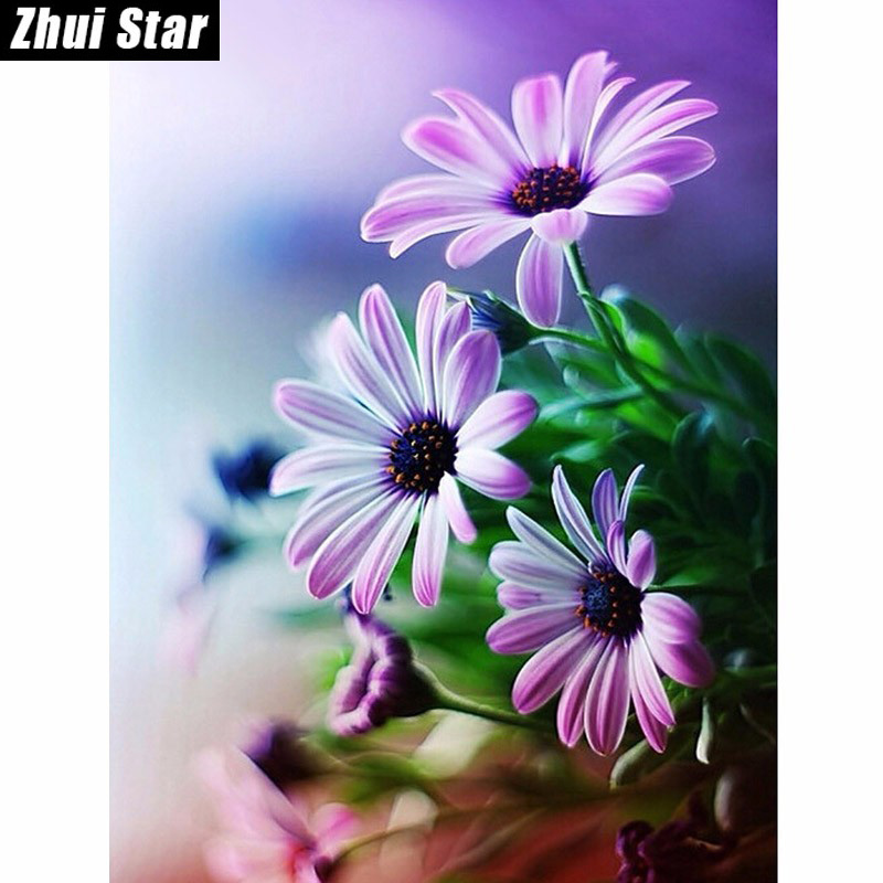 New Beautiful Purple Flower Diy 5D Diamond Painting Embroidery Cross Stitch Full Diamond Mosaic Picture Pasted ասեղնագործության ձևավորում Դեկոր