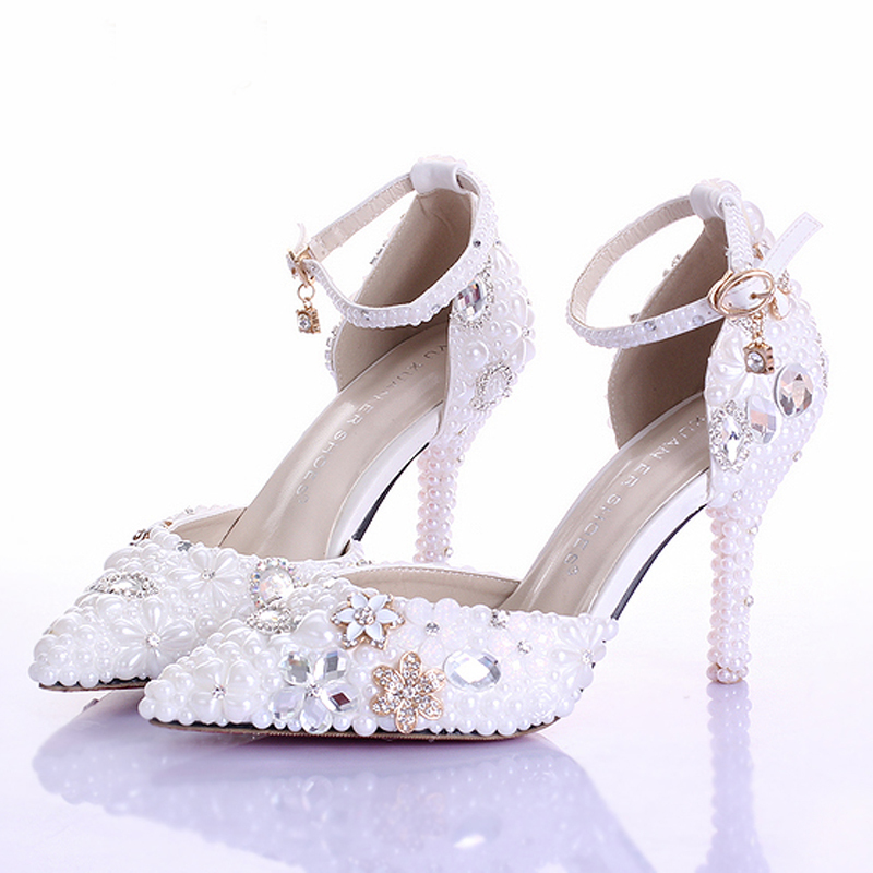 Exceptional New Style Handmade Pointed Toe Ankle Strap Bridal Dresses Shoes White Pearl Wedding  Shoes Popular Formal Shoes Rhinestone Pumps In Womenu0027s Pumps From Shoes ...