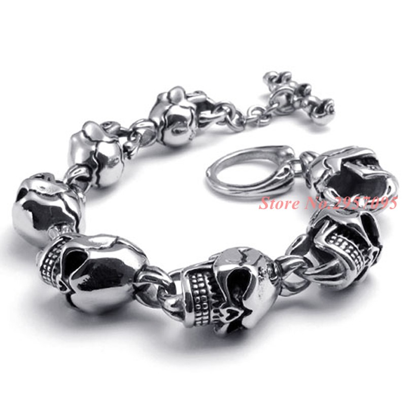 Big Size Boys Punk Skull Stainless Steel Bracelet Men Heavy Biker Motorcycle Link Chain Bracelets Bangle Jewelry For Best Friend 23mm width punk stainless steel bracelet men double biker bicycle motorcycle chain men s bracelets mens big bracelets