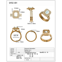 QYI 1.5 ct Shiny 3A Zircon Engagement Rings Two Row 10k Gold Rings For Women Jewelry Anniversary Gift