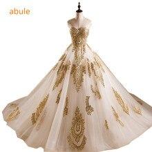 Contoh nyata putri Bridal Gown Sayang Garis Leher Applique Lebar Hemline mewah menyesuaikan Wedding Dresses vestido de noiva