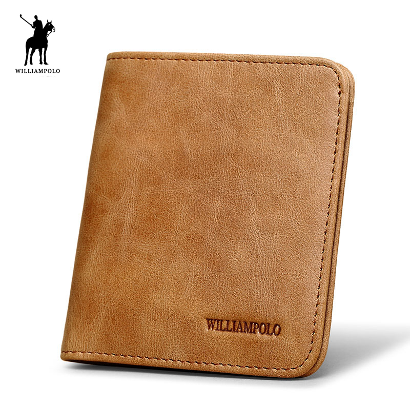WILLIAMPOLO 2017 Vintage Luxury Quality 100% Genuine Leather Ultra Thin Wallet For Men POLO207