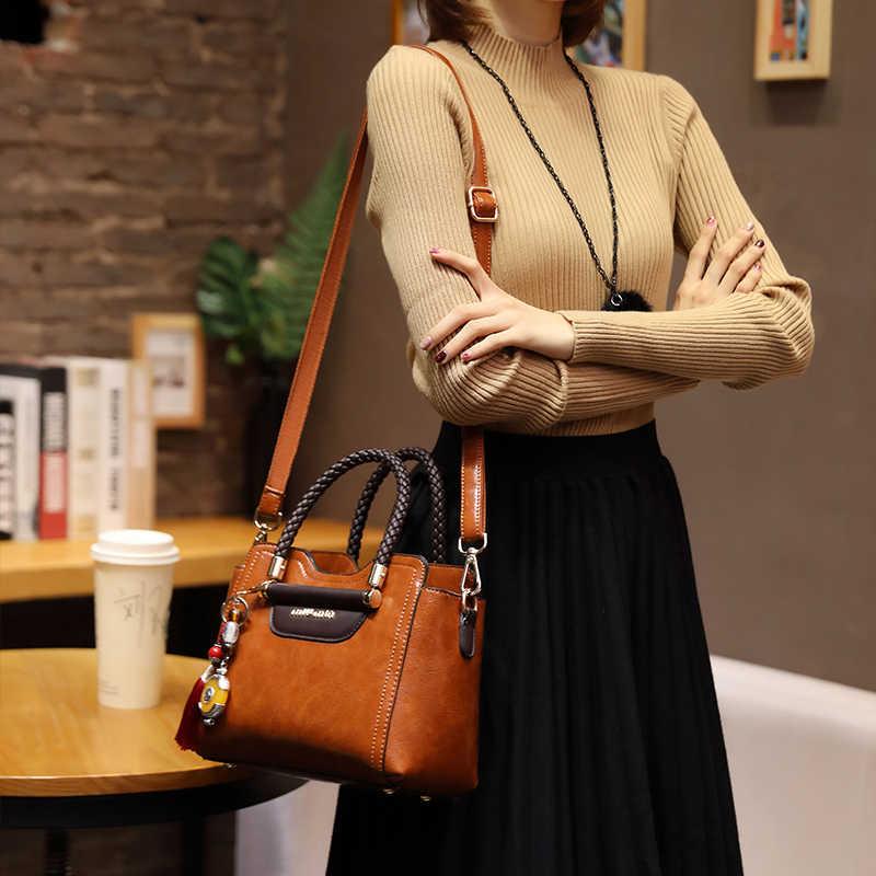 Vintage en cuir véritable décontracté sac fourre-tout sacs à main femmes sacs célèbre marque rétro sac à bandoulière huile cire sac Messenger sac a main T54