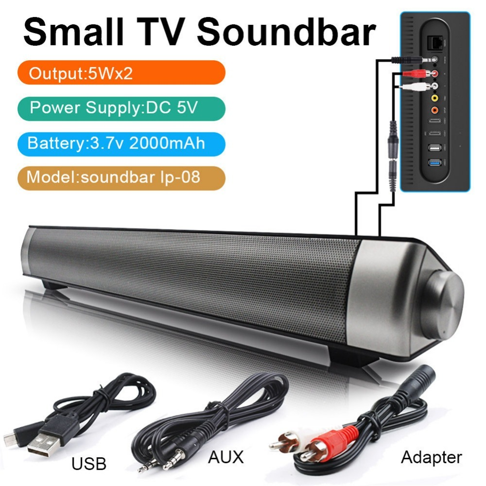 Wireless Tv Soundbar 10w Bluetooth Speaker Remote Control
