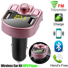 Hot Bluetooth Car Kit MP3 Player FM Transmitter Auto Bluetooth AUX Wireless Car Modulator Radio 2 USB Car Charger Remote Control(China)
