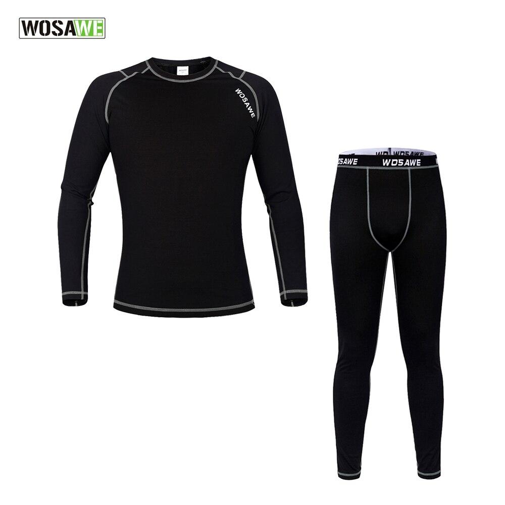 WOSAWE Men Winter Outdoors Sports Cycling Base Layer Sets Thermal Underwear Surface Elastic Long Johns Bicycle Clothing цены онлайн