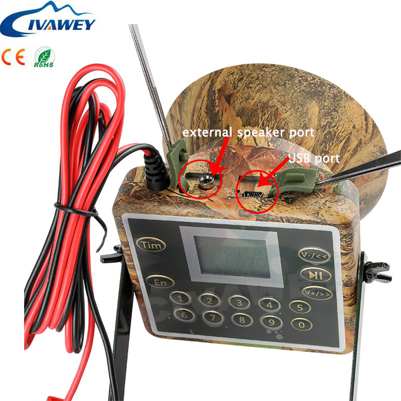 Support Arabic Russian Italian 60W speaker Hunting Bird Sound Mp3 player goose duck Crow sounds caller hunting decoy with timer