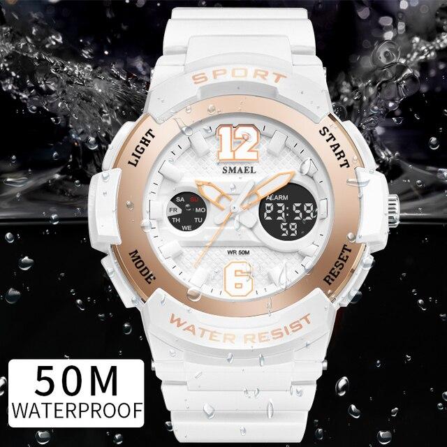 f502453c677f Spor Saatler için Kadın SMAEL Bayanlar Saatler Casual LED Dijital Beyaz Saat  Kadın Zarif relojes mujer