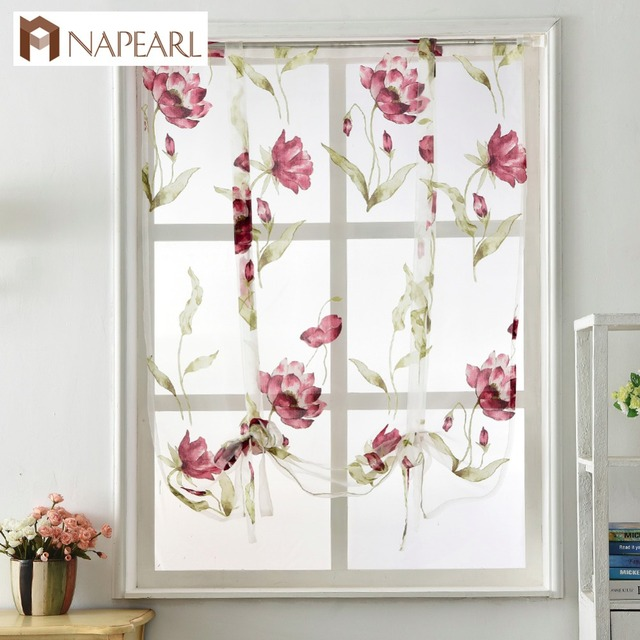 Roman Curtain Short Kitchen Valance Organza Curtains Tie Up Rod Pocket  Sheer Tulle Panel Modern Curtains