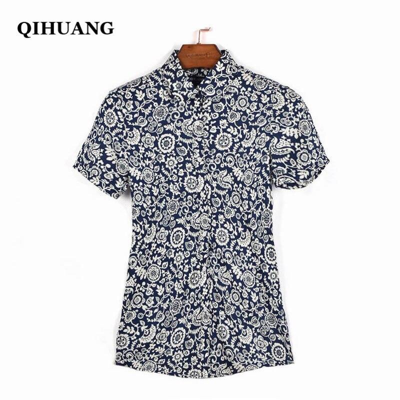 QIHUANG vrouwen vrolijke bloemen bedrukte blouse shirt met korte mouw - Dameskleding - Foto 2