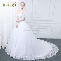 Wuzhiyi Vestidos De Noiva Wedding Dress 2017 Long Sleeves Lace Ball Gown Scoop Neck Wedding Dresses