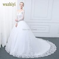 wuzhiyi vestidos de noiva wedding dress 2017 Long Sleeves Lace Ball Gown Scoop Neck Wedding dresses robe de mariee brautkleid