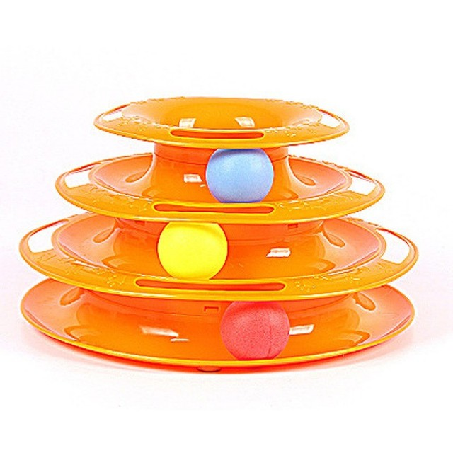 New Funny Pet Toys Cat Crazy Ball Disk Interactive Amusement Plate Play Disc Trilaminar Turntable Cat Toy 5 Style