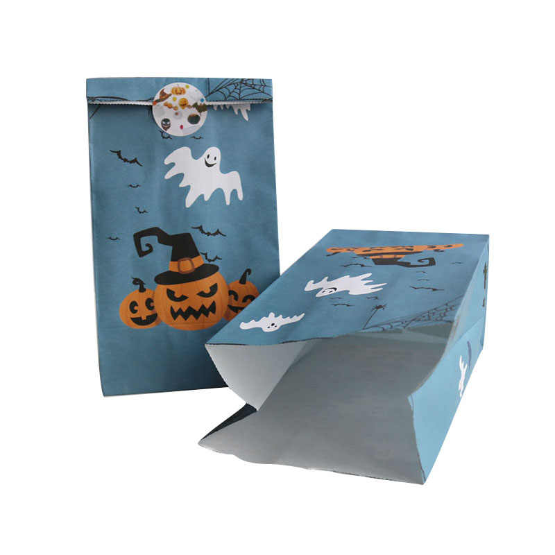 Halloween Party Kraft Cookie Paper Bags Blue Gift Box Packaging Candy Bag Gift & Wrapping Party Supplies Holloween Decorations