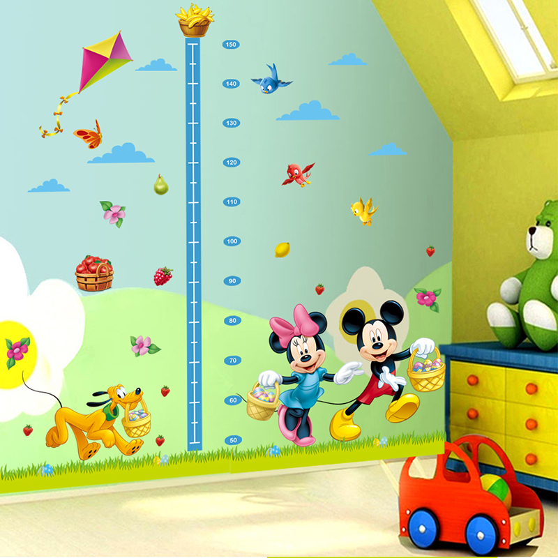 cartoon minnie mickey mouse growth chart height measure kids baby nursery bedroom wall sticker. Black Bedroom Furniture Sets. Home Design Ideas