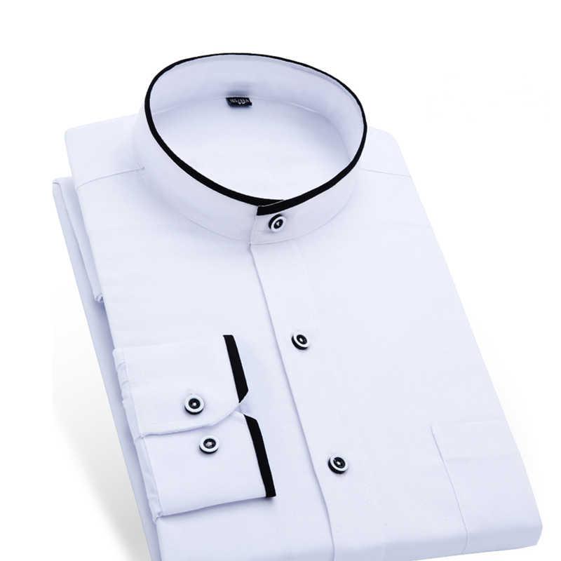 マンダリン襟男性のビジネス正式なシャツの男性のソリッドカラーのドレスシャツオフィス摩耗白/黒色アジアサイズ
