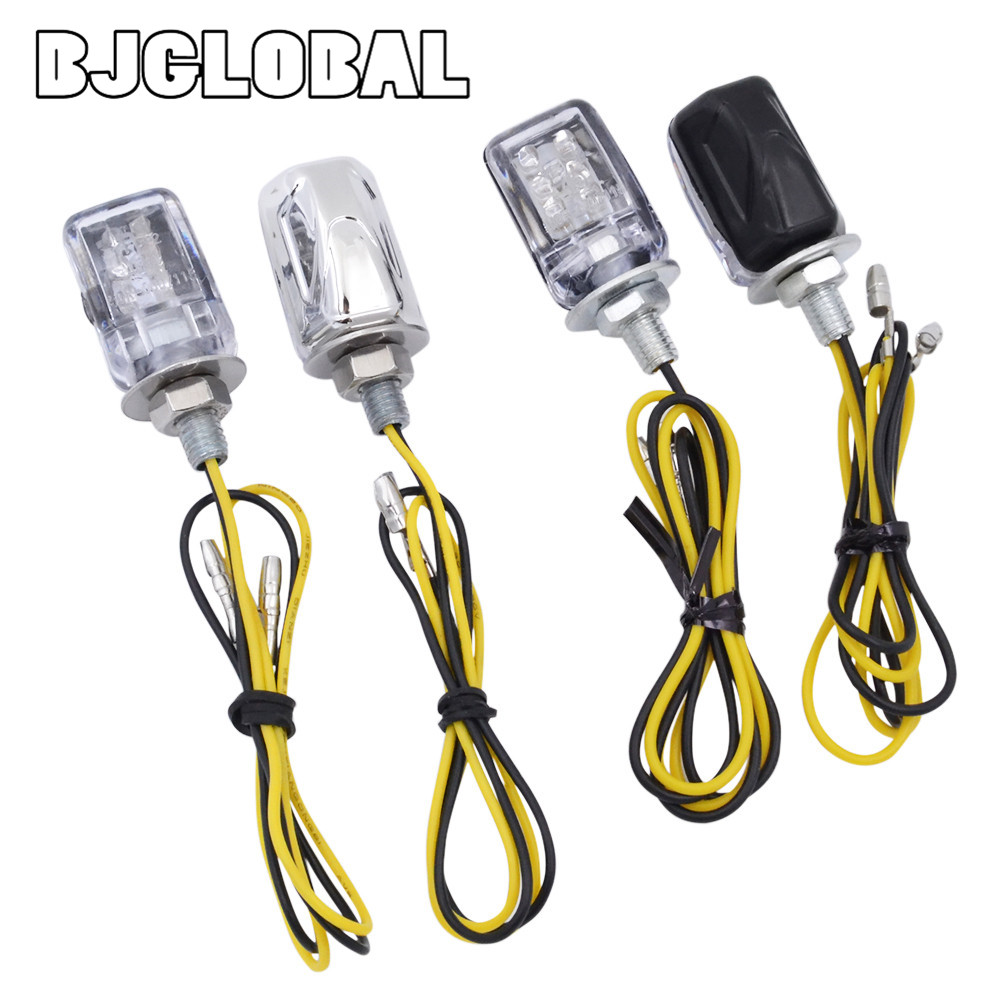 LED Motorcycle Mini Turn Signal Lights Blinker Flashing Indicator 12V Housing Chrome Car Trucks 6mm Bolt Screw Lamp Bulb Power