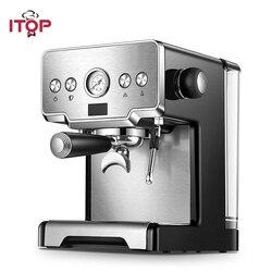ماكينة القهوة الإيطالية ITOP 15Bar/1450 واط/1.7L ماكينة صنع قهوة اسبريسو شبه التلقائي رغوة الحليب الكهربائية صانع القهوة