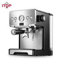 ITOP Italian Coffee Machine 15Bar/1450W/1.7L Espresso Coffee Maker Semi-automatic Milk Foam Electric Coffee Maker