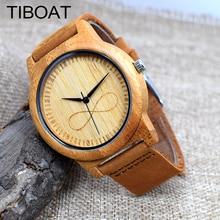 TIBOAT Fashion Luxury Men's Women's Bamboo Wood Watch Quartz Genuine Leather Wristwatches de madera reloj de pulsera