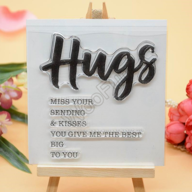 Hug Sentiment Clear Stamp  Rubber Clear Stamp For Card Making Decoration And Scrampbooking
