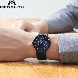 Megalith moda casual relógio de quartzo à prova dwaterproof água ultra fino dos homens relógios de pulso dos esportes de luxo da marca superior para o relógio masculino