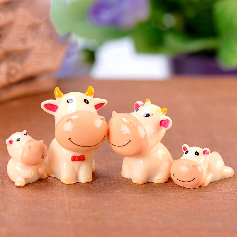 4pcs Cute Cow Family Animal Model figurine home decor miniature fairy garden decoration accessories Statue Resin Craft Figure in Figurines Miniatures from Home Garden