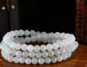 Natural jade bracelet man and woman's ice seed oil blue beads jade bracelet string jewelry.