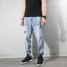 Fashion Streetwear Men Jeans Light Blue Harem Trousers Spliced Joggers Ripped Jeans Men Multi Pockets Hip Hop Denim Cargo Pants fashion brand denim jumpsuit men casual pants multi pockets hip hop overalls for men camouflage outdoors long trousers
