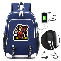 Monkey D. Luffy Backpack with USB Charging Port and Lock &Headphone interface for College Student Work