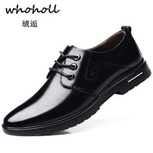 Whoholl 2018 Man Flat Classic Men Dress Shoes Genuine Leather Wingtip Carved Italian Formal Oxford Plus Size 38-45 for Winter