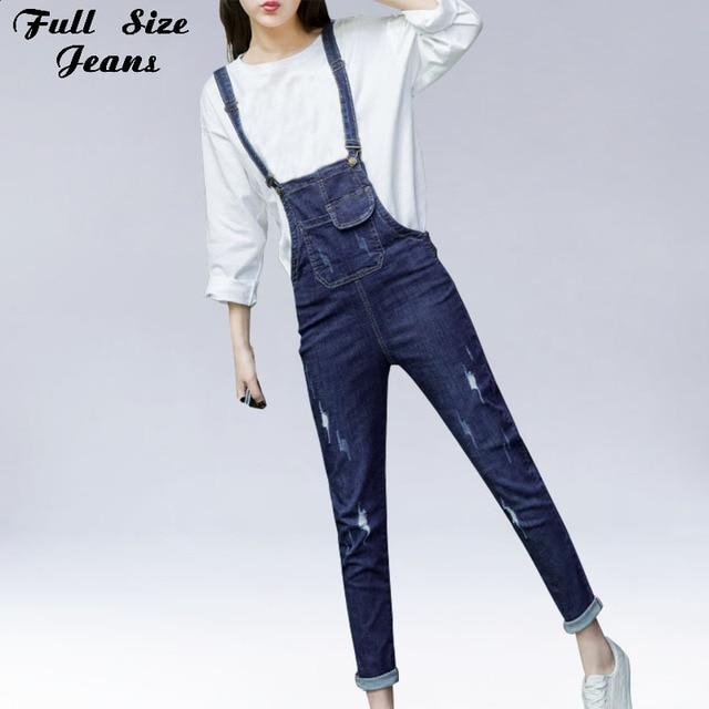 835889a3177 Plus Size High Waist Pocket Loose Rompers Ankle-Length Denim Overalls 4XL  5XL Women Stretch Combinaison Femme Adjustable Strap