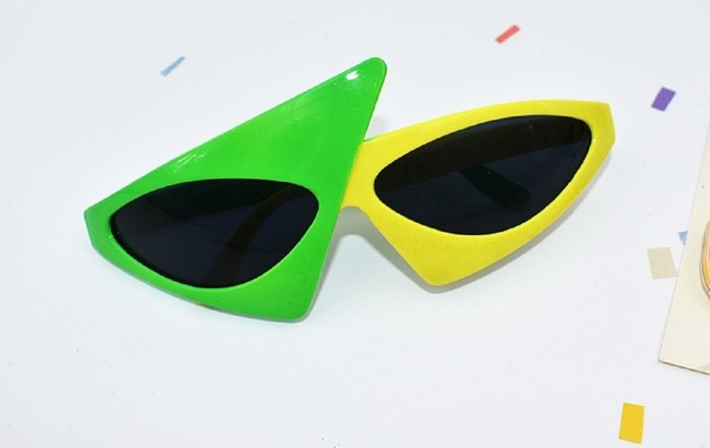 a5d9387366 Hip-Hop Sunglasses Roy Purdy Style mask funny sunglasses Novelty Green  yellow Contrast Color Glasses party decoration supplies