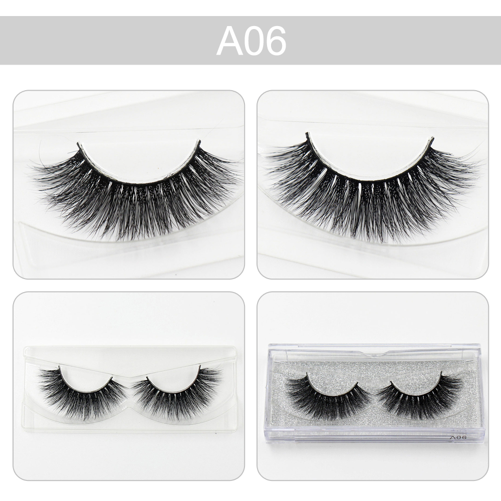 Handmade False Eyelashes 3D Real Mink Hair Natural Long Thick Bushy Full Strip Lashes Curling Beauty Makeup Extension Tools A06 ...