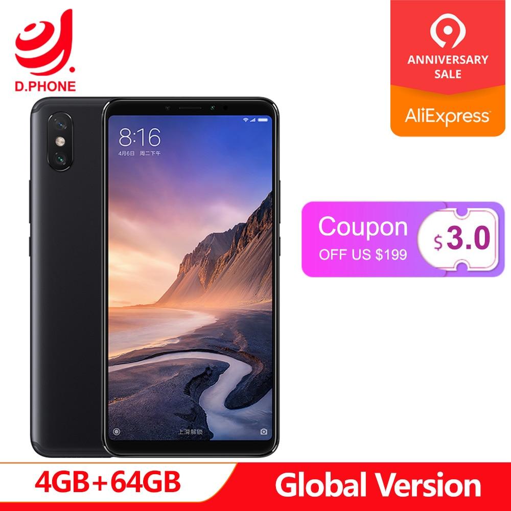 5500 mAh 6.9 pouces Version globale Xiao mi mi Max 3 4 GB RAM 64 GB ROM Snapdragon 636 Octa Core 12MP + 5MP caméra Max3 téléphone portable