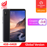 5500mAh 6.9 inch Global Version Xiaomi Mi Max 3 4GB RAM 64GB ROM Snapdragon 636 Octa Core 12MP+5MP Camera Max3 Mobile phone