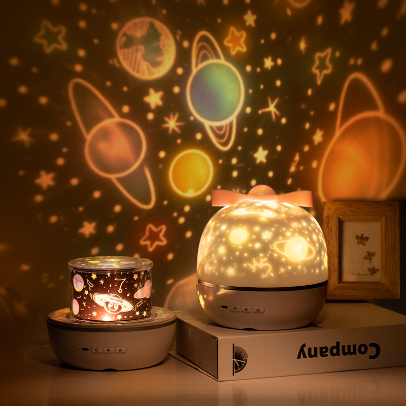 1 Set 360 Degree Rotation Projector Night Lights with 6 PCS Films Unicorn Ocean Led Lamp Unique Gift for Kids Bedroom Decor