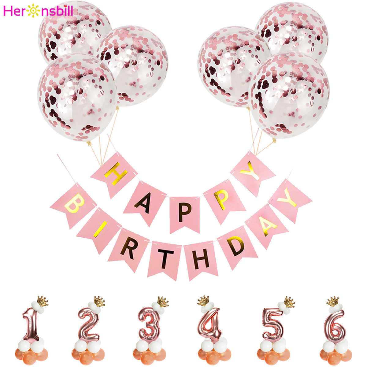 1st 1 2 3 4 5 6 7 8 9 Years Happy Birthday Banner Foil Balloons Baby Girl  Party Decoration Kids Latex Rose Gold Supplies 2nd 3rd    - AliExpress