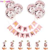 Cartel de feliz cumpleaños para niños, 1, 2, 3, 4, 5, 6, 7, 8 y 9 años, globos de aluminio, decoración de fiesta para niña, suministros de oro rosa de látex para niños, 2da, 3