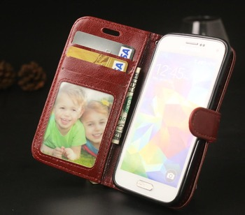 Leather Protector Case Phone Back Style Flip Cover Stand Design With Photo Display Card Holder For Samsung Galaxy S5 Mini G800 image