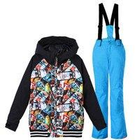 2018 ski suit for children snow suits ski kids winter jackets boys snowboard jacket hoodie boys ski jacket and pants