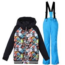 цена на 2018  ski suit for children snow suits ski kids winter jackets boys snowboard jacket hoodie boys ski jacket and pants