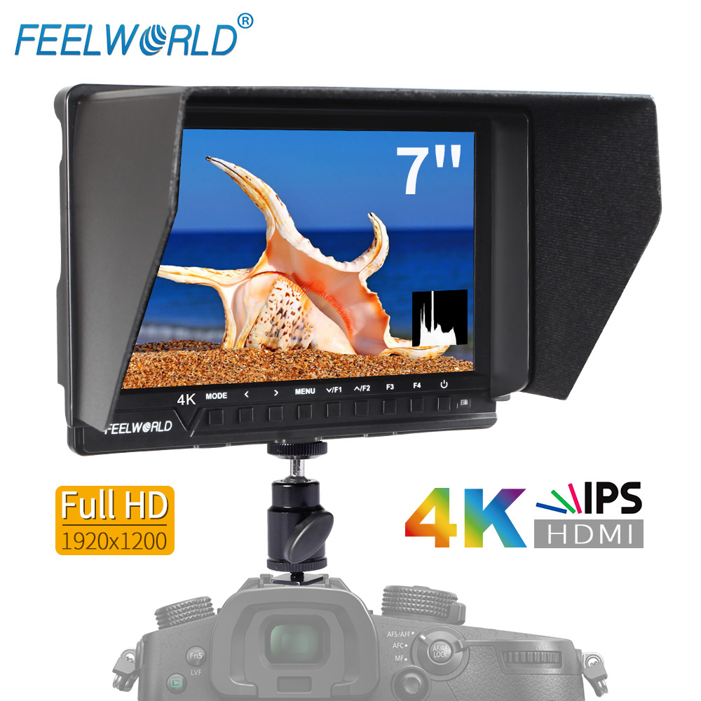 Feelworld 7 Inch IPS 4K Full HD 1920x1200 HDMI On-Camera Field Monitor with Peaking Focus Assist Histogram Zebra FW760