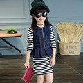 Девушки Одежда для Весны и Осени, 2 шт. Девушки Полосатом Платье + Джинсовой Жилет