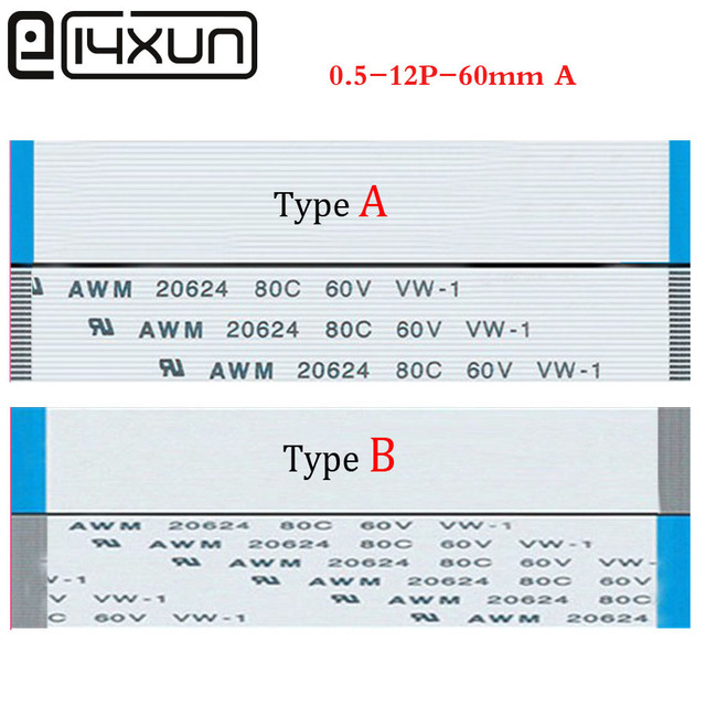 EClyxun 100 pcs 12Pin FFC/FPC גמיש כבל שטוח 0.5mm המגרש 12 פין 60mm Isotropy או אנאיזוטרופיה B כבל, AWM 20624, 80C 60 V VW-1