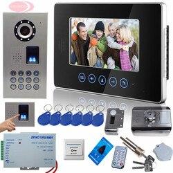 Sunflowervdp touch button 7 video door phone doorbell intercom system fingerprint code unlock rfid door lock.jpg 250x250