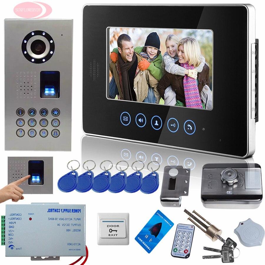 SUNFLOWERVDP Touch button 7 Video Door Phone Doorbell Intercom System Fingerprint/Code Unlock Rfid door lock Coded To The Door