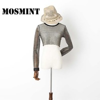 MOSMINT Mesh Crop T Shirts Women Fishnets Hollow Out Metal Feel Chic Sexy Tee Tops Female
